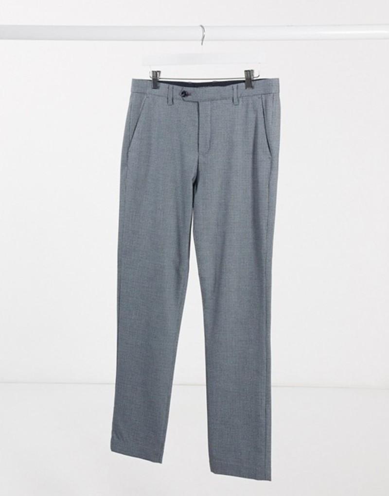 テッドベーカー メンズ カジュアルパンツ ボトムス Ted Baker slim fit pants in gray check Blue