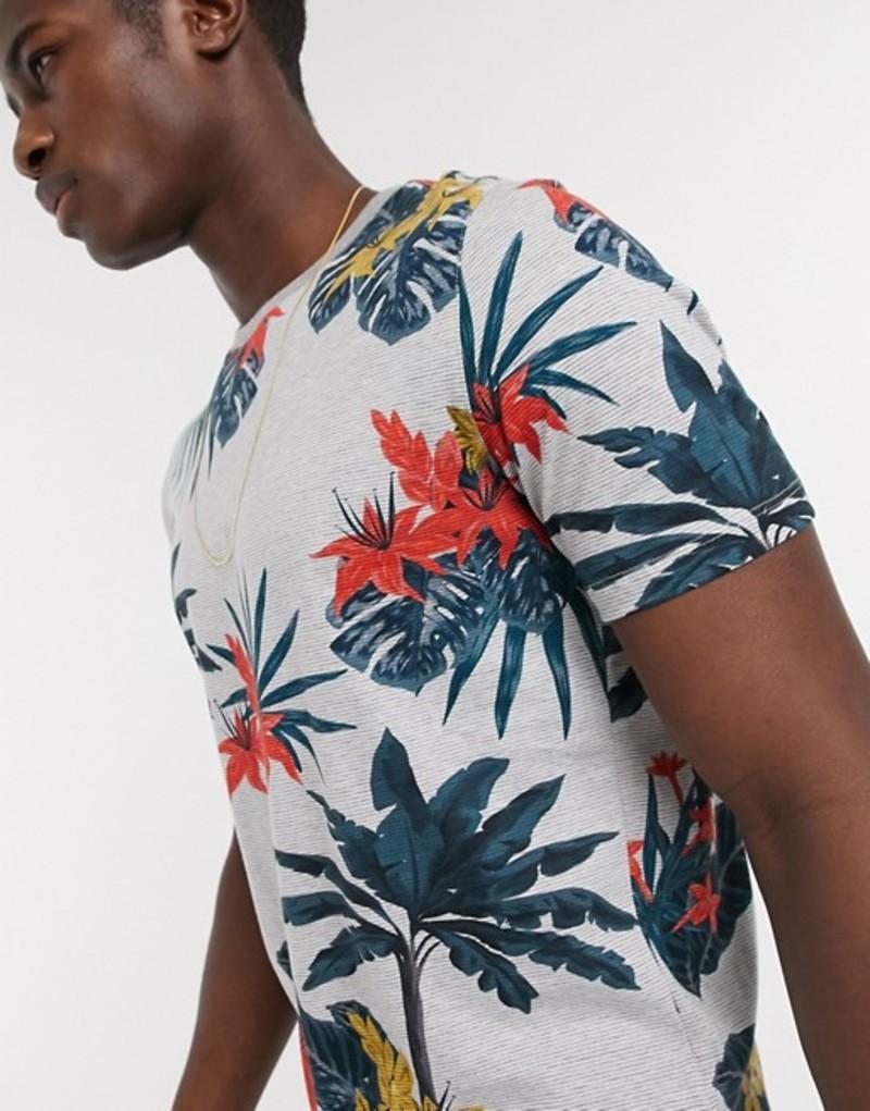 テッドベーカー メンズ シャツ トップス Ted Baker tropical palm print t-shirt in light gray Light gray