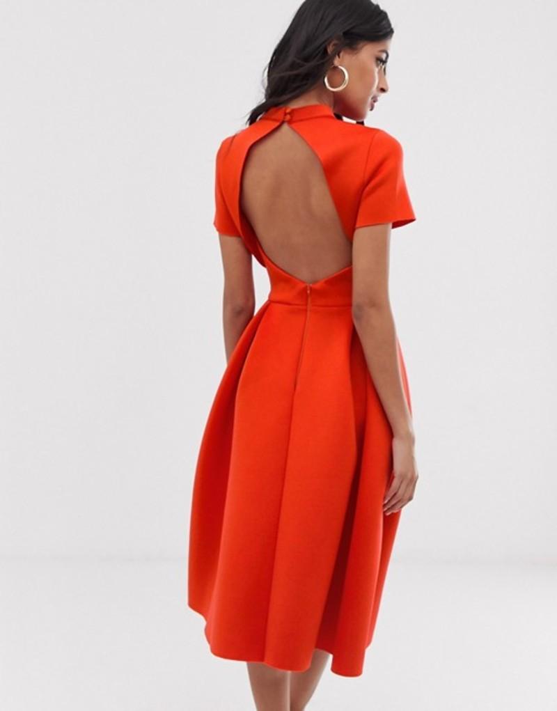 エイソス レディース ワンピース トップス ASOS DESIGN T-Shirt open back prom midi dress Fiery red