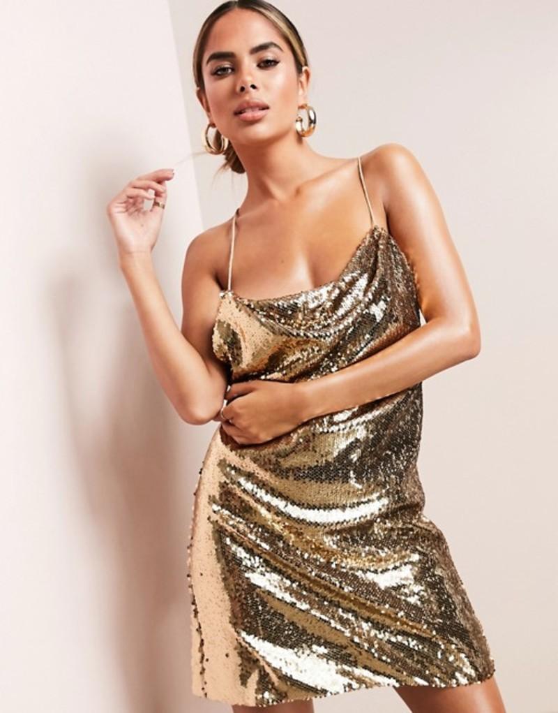 エイソス レディース ワンピース トップス ASOS DESIGN cowl neck all over sequin mini cami dress in gold Oyster gold