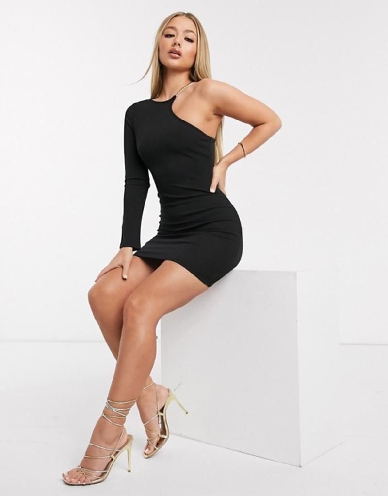 アックスパリ レディース ワンピース トップス AX Paris cut out one shoulder dress in cream Black