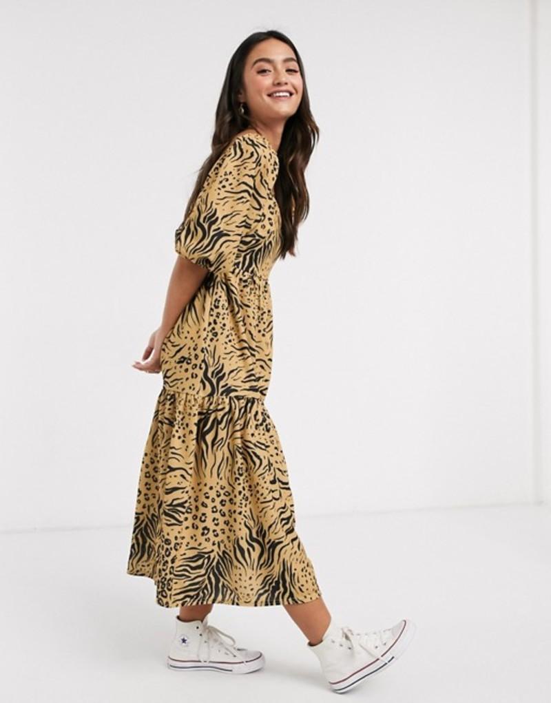 エイソス レディース ワンピース トップス ASOS DESIGN midi smock dress with square neck in animal print Animal print