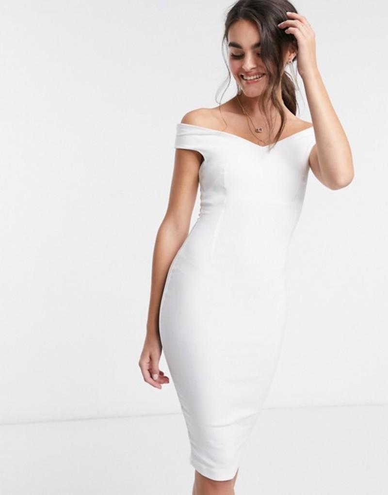 ベスパー レディース ワンピース トップス Vesper bardot pencil midi dress in white White