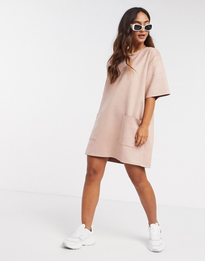 エイソス レディース ワンピース トップス ASOS DESIGN oversize suedette t-shirt dress with pocket detail in pink Pink