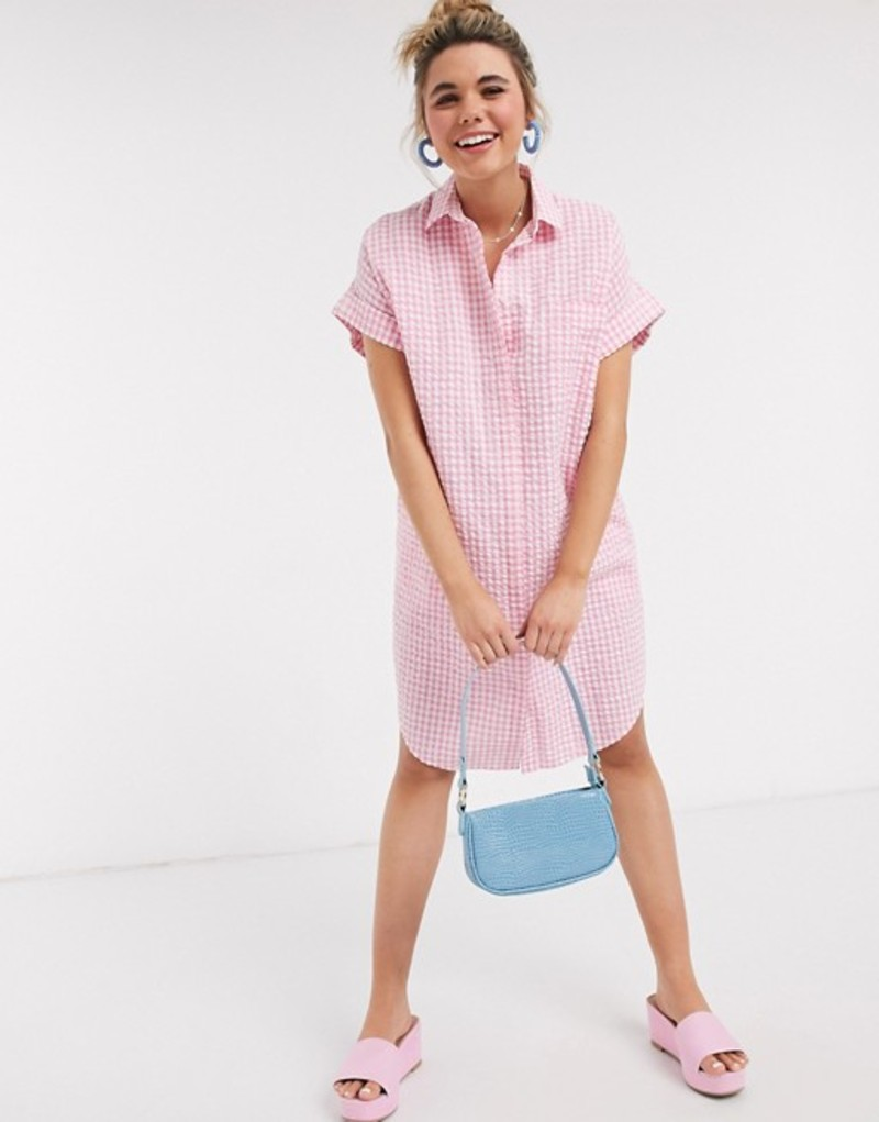モンキ レディース ワンピース トップス Monki Wanna organic cotton oversized gingham print shirt dress in pink Pink