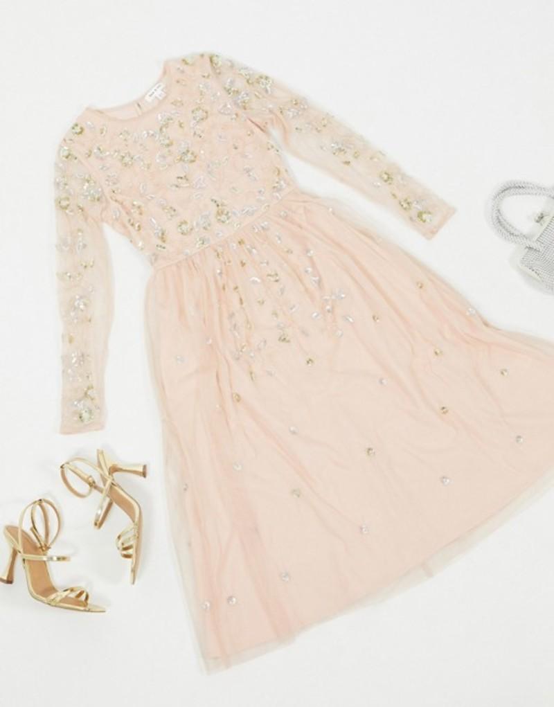 フロック レディース ワンピース トップス Frock & Frill embellished long sleeve midi dress in blush Blush