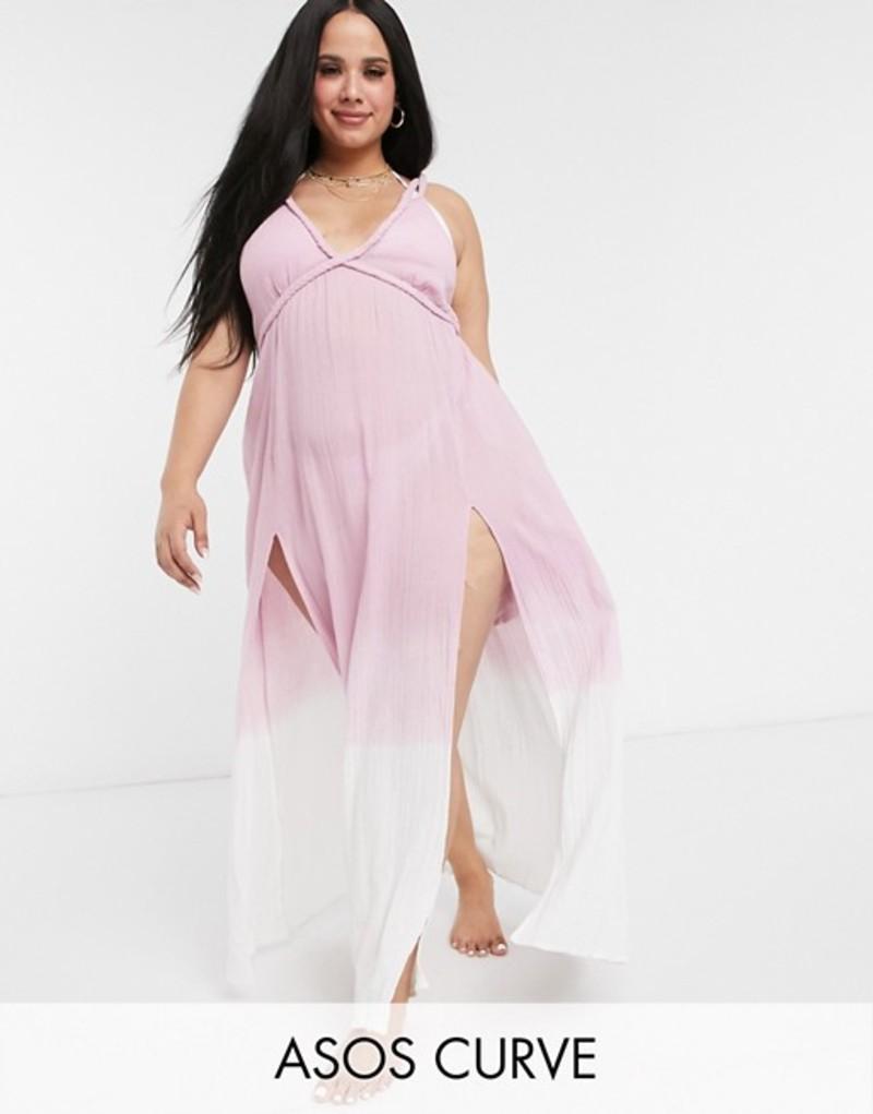 エイソス レディース ワンピース トップス ASOS DESIGN curve braid maxi beach dress in textured pink ombre Pink ombre