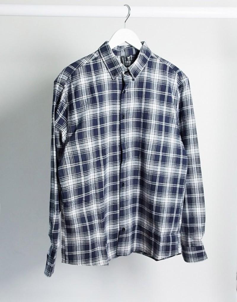 グッドフォーナッシング メンズ シャツ トップス Good For Nothing check shirt in navy check Navy