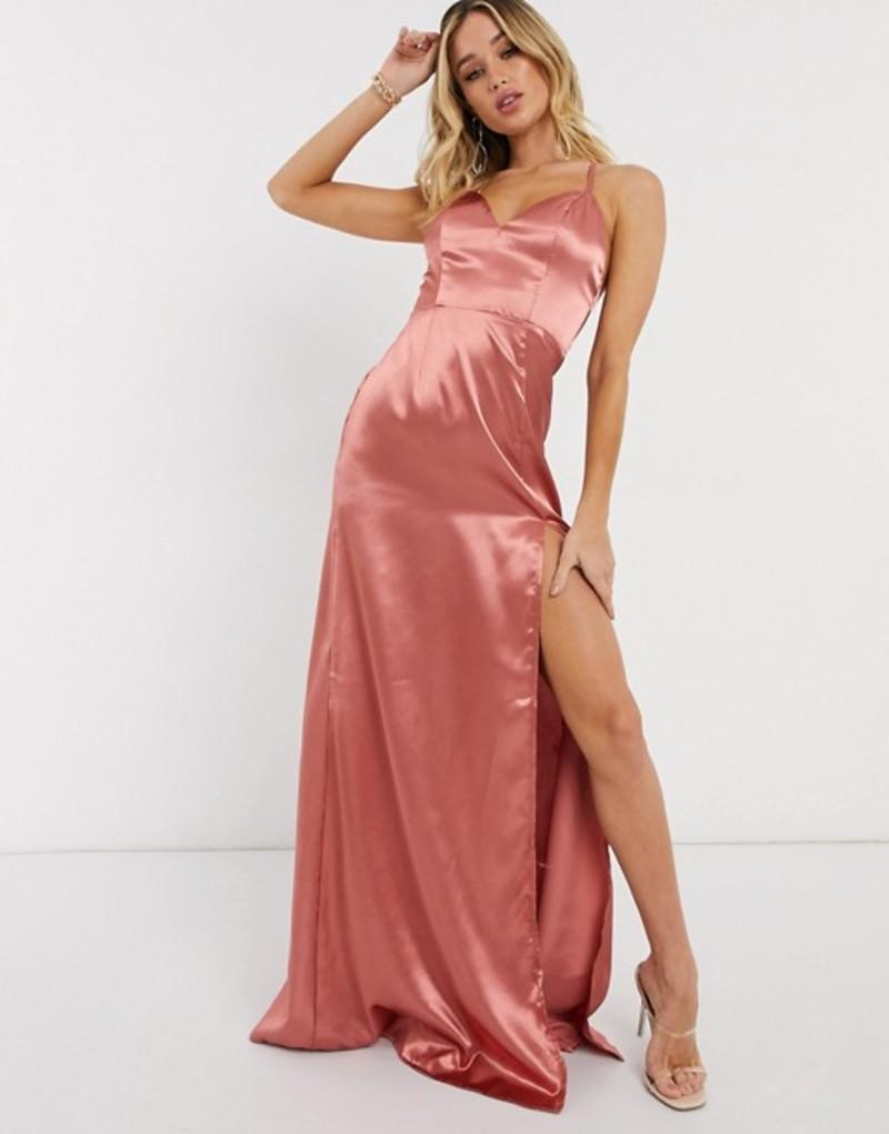 クラブエル ロンドン レディース ワンピース トップス Club L cami strap satin maxi dress with thigh split in dusky pink Dusky pink