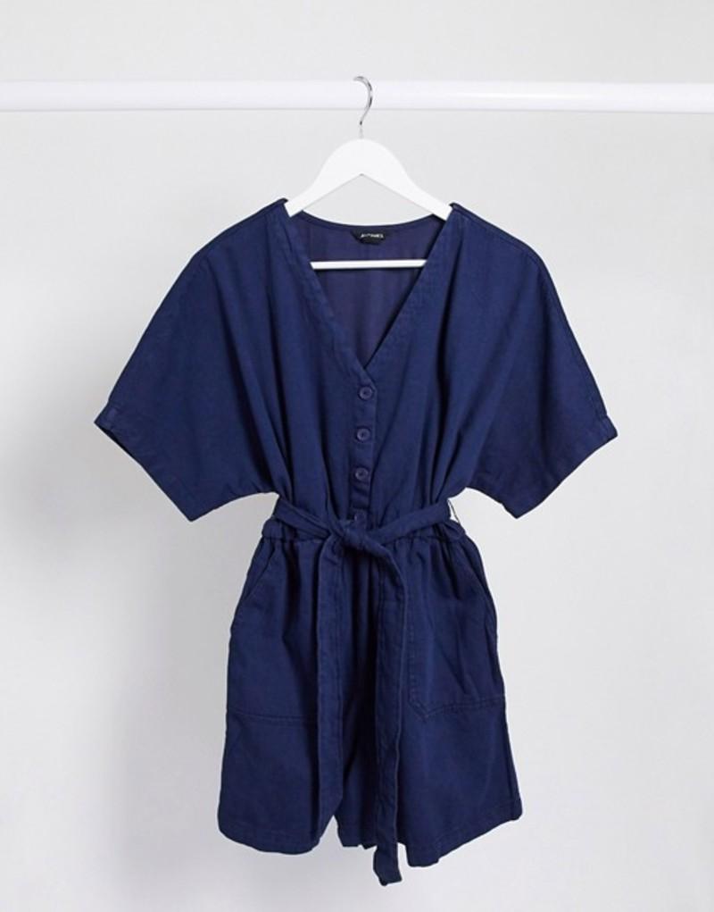 モンキ レディース ワンピース トップス Monki Tonya organic cotton denim short sleeve tie waist romper in blue Blue