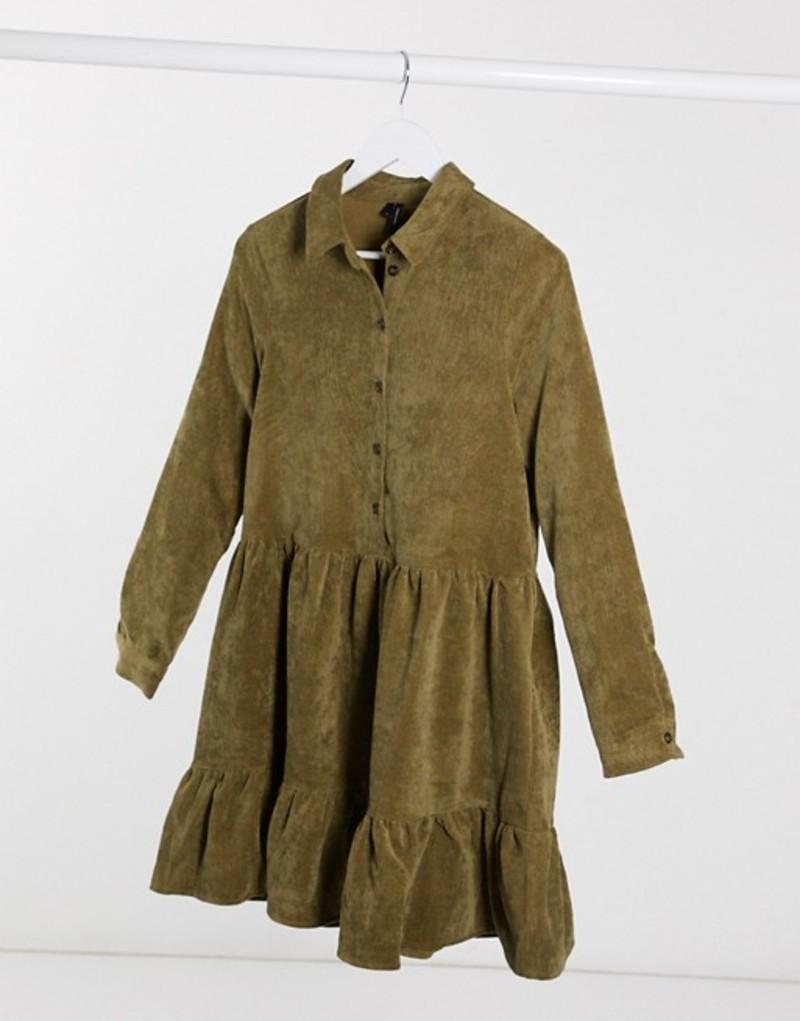 ヴェロモーダ レディース ワンピース トップス Vero Moda cord smock shirt dress in green Ivy green