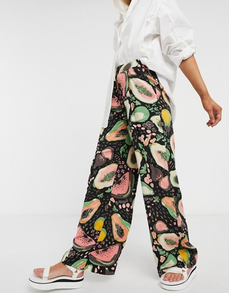 セレクティッド レディース カジュアルパンツ ボトムス Selected Frutti printed wide leg pants in black multi Multi
