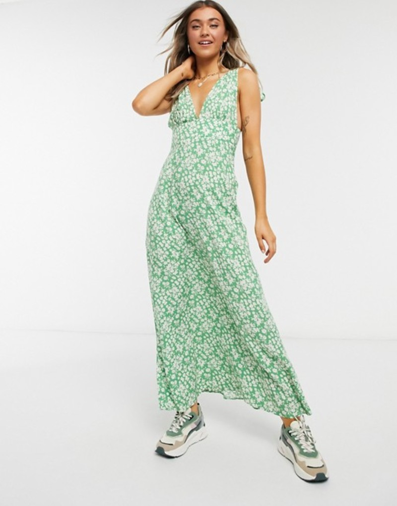 エイソス レディース ワンピース トップス ASOS DESIGN plunge tie shoulder maxi dress in green based ditsy floral print Green based floral