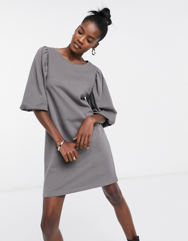 オンリー レディース ワンピース トップス Only sweat dress with balloon sleeve detail in gray Dark gray