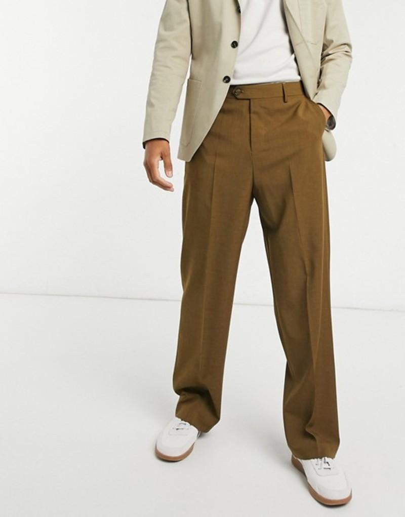 エイソス メンズ カジュアルパンツ ボトムス ASOS DESIGN wide leg smart pants in khaki cross hatch Olive