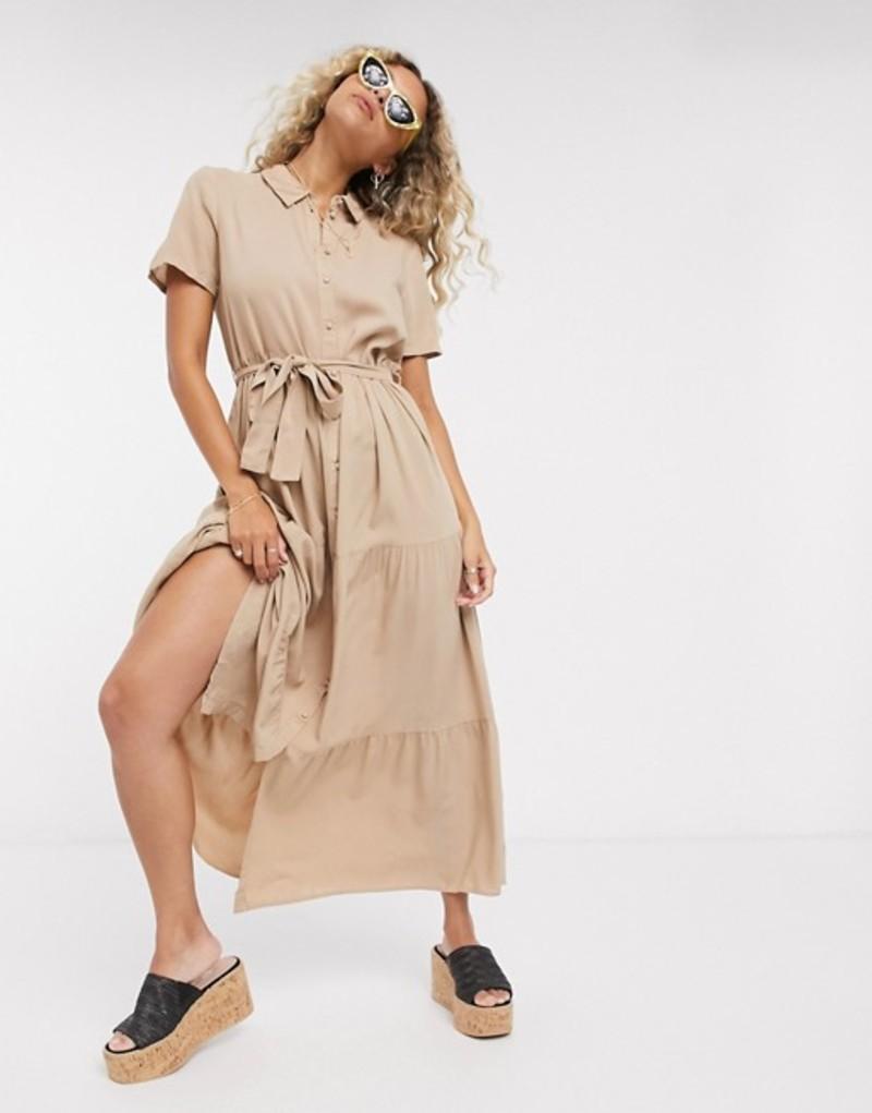 ヴェロモーダ レディース ワンピース トップス Vero Moda midaxi shirt dress in brown Nomad
