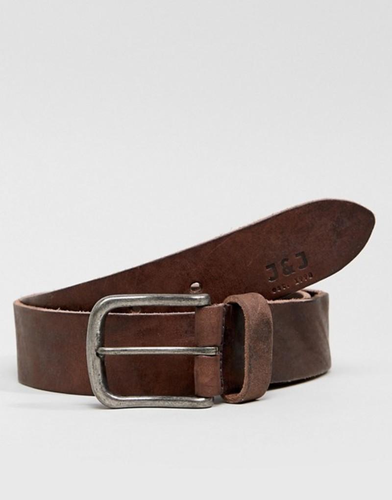 ジャック アンド ジョーンズ メンズ ベルト アクセサリー Jack & Jones Leather Belt With Vintage Buckle Black coffee