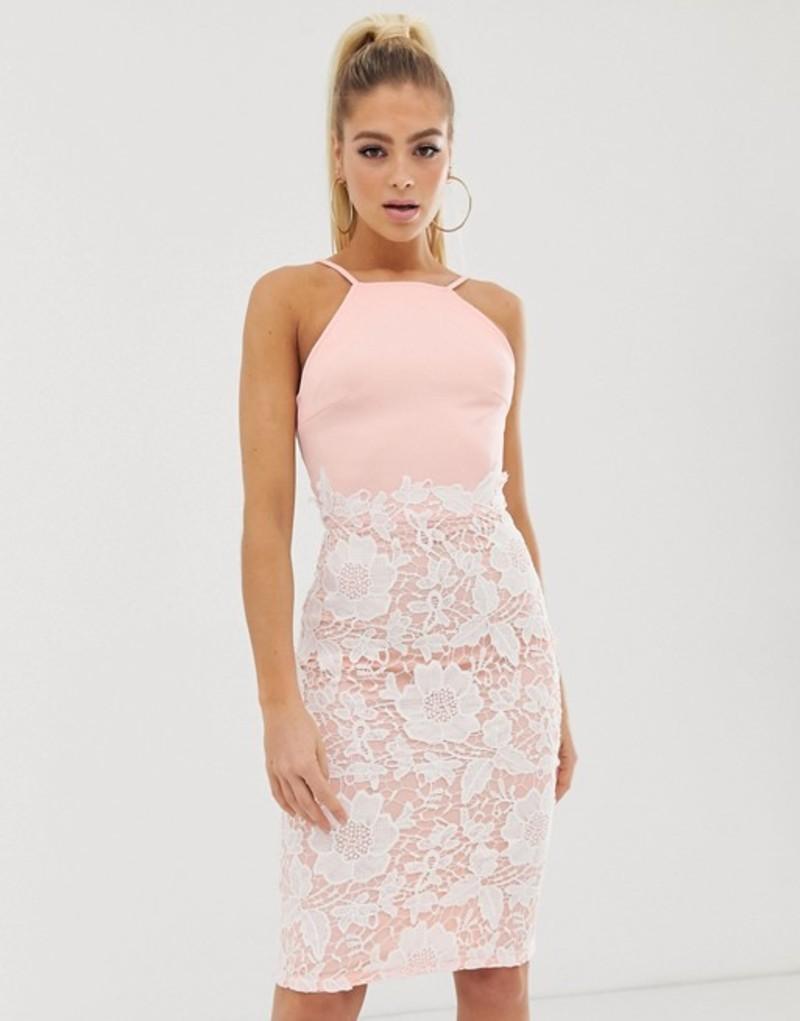 ガール イン マインド レディース ワンピース トップス Girl In Mind lace low back midi dress Pink/buttermilk