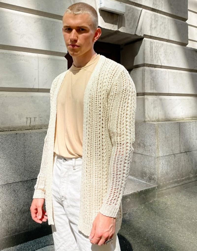 エイソス メンズ カーディガン アウター ASOS DESIGN crochet knit longline cardigan in beige Beige