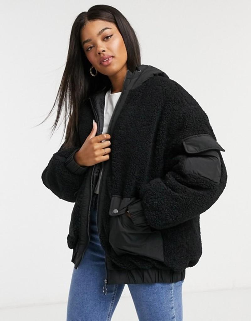 エイソス レディース ジャケット・ブルゾン アウター ASOS DESIGN fleece patched bomber jacket in black Black