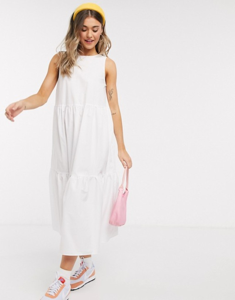 エイソス レディース ワンピース トップス ASOS DESIGN sleeveless cotton tiered midi dress with open back in white White