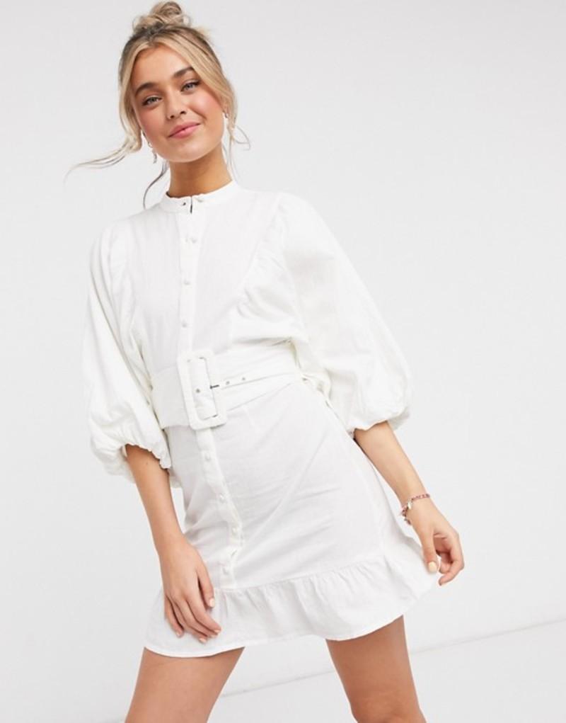 エイソス レディース ワンピース トップス ASOS DESIGN button through high neck cotton mini dress with batwing sleeves and belt in white White