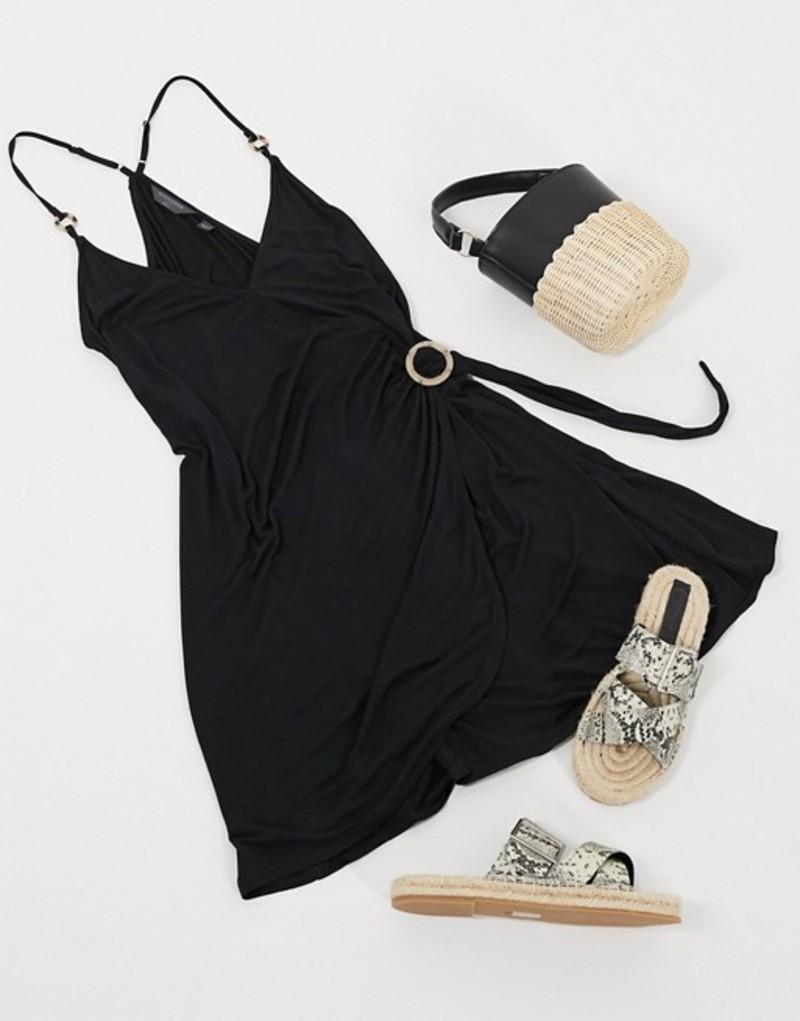 アクセサライズ レディース ワンピース トップス Accessorize jersey ring detail dress in black Black
