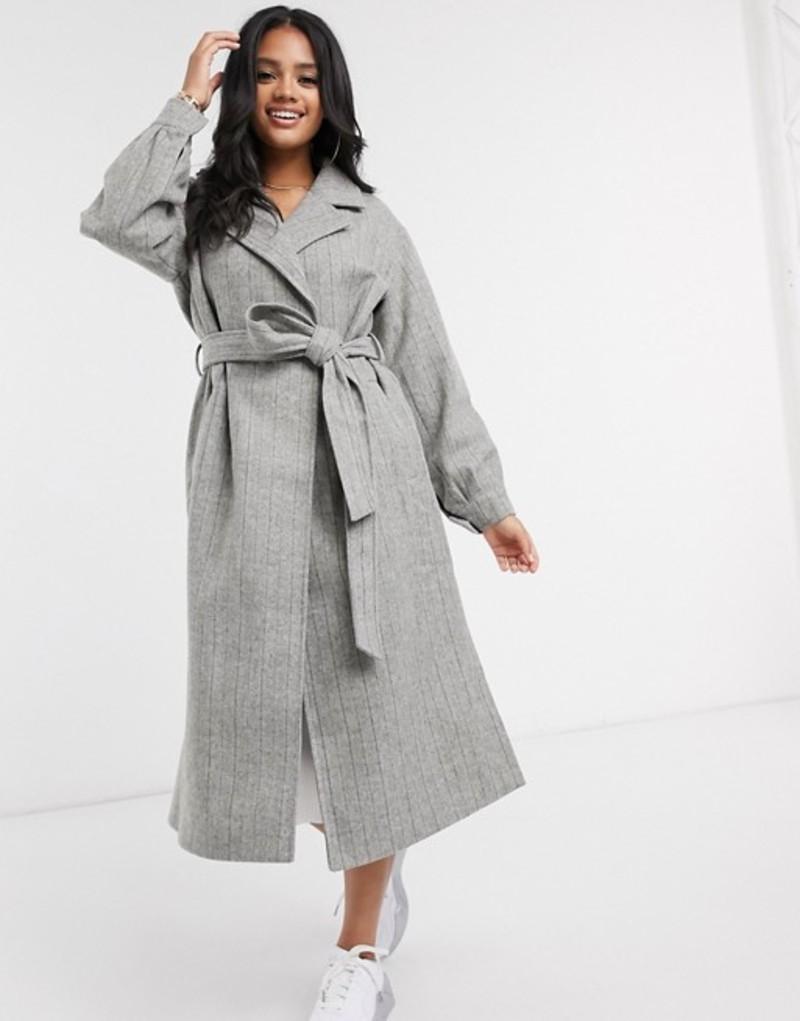 送料無料 サイズ交換無料 ミスガイデッド レディース アウター コート Gray balloon 専門店 sleeve Missguided 激安 in coat pinstripe