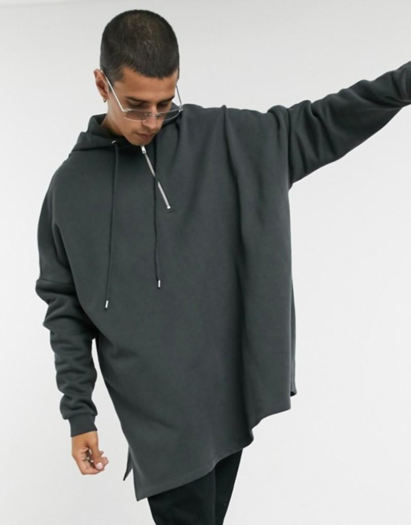 エイソス メンズ パーカー・スウェット アウター ASOS DESIGN extreme oversized hoodie with half zip in washed black Phantom