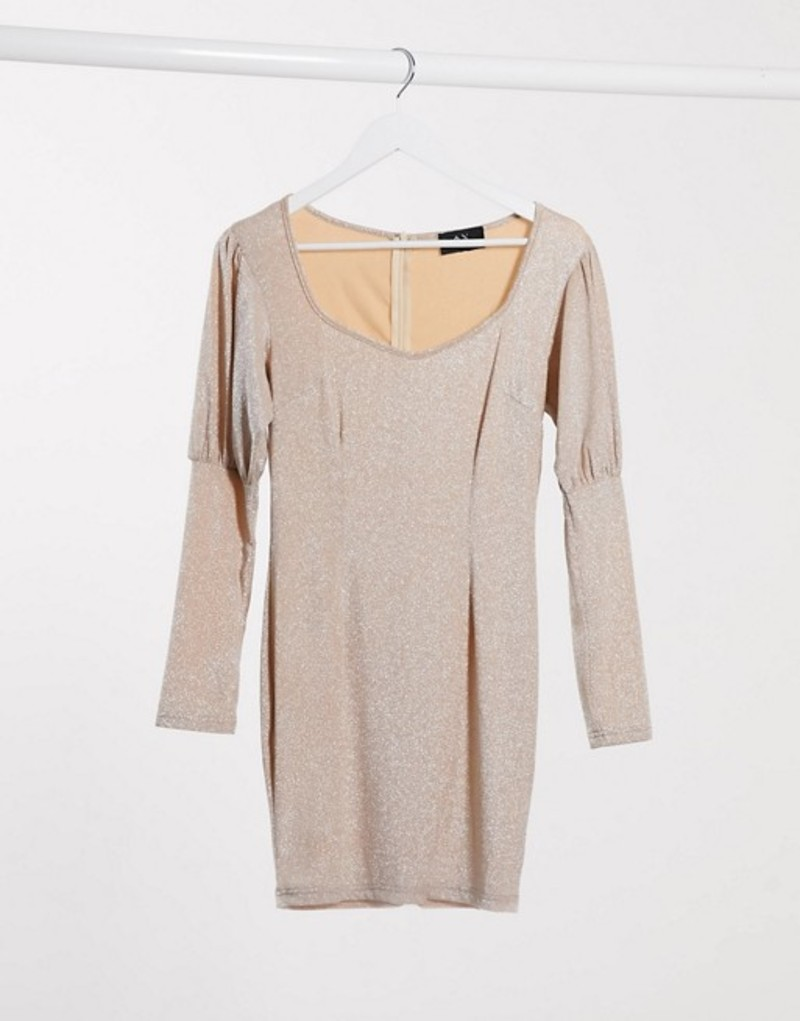 アックスパリ レディース ワンピース トップス AX Paris puff sleeve mini dress in metallic light pink Beige