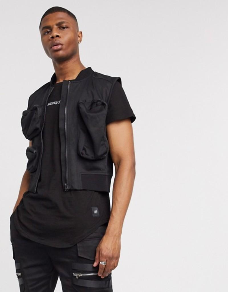 シックスジュン メンズ タンクトップ トップス Sixth June vest with utility pockets in black Blac