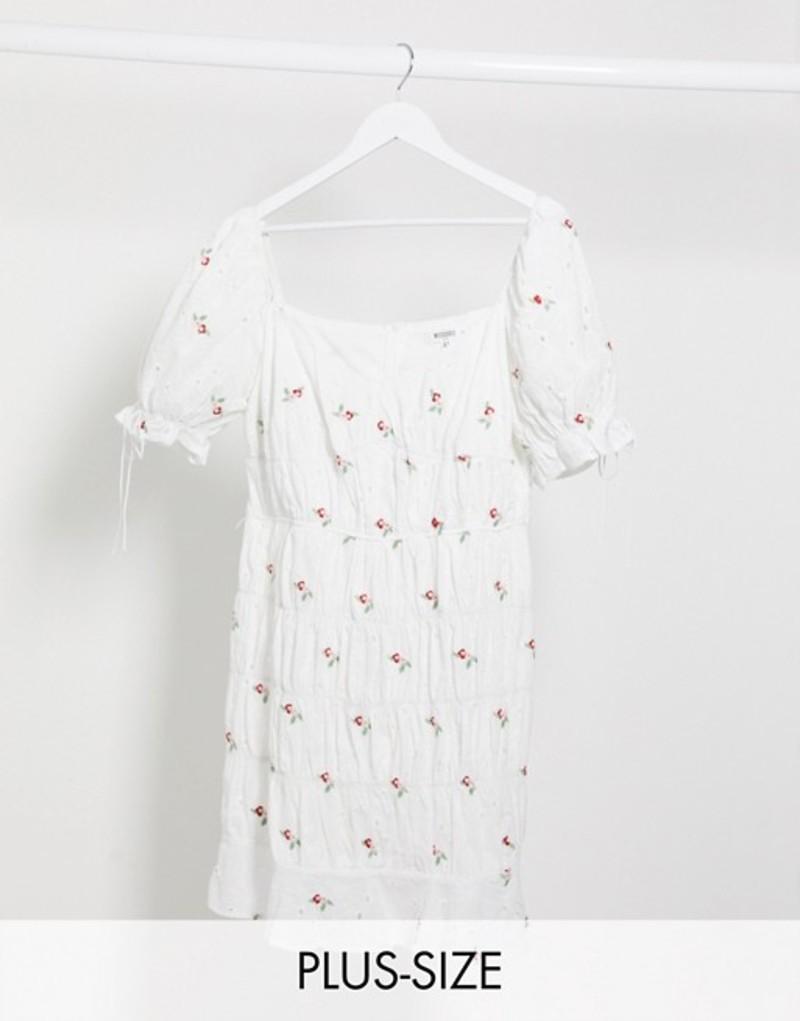 ミスガイデッド レディース ワンピース トップス Missguided Plus ruched mini dress in white ditsy floral White