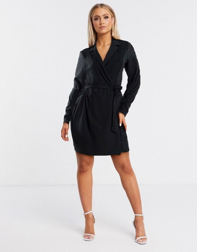 フラウンスロンドン レディース ワンピース トップス Flounce London mini tux wrap dress in black Black