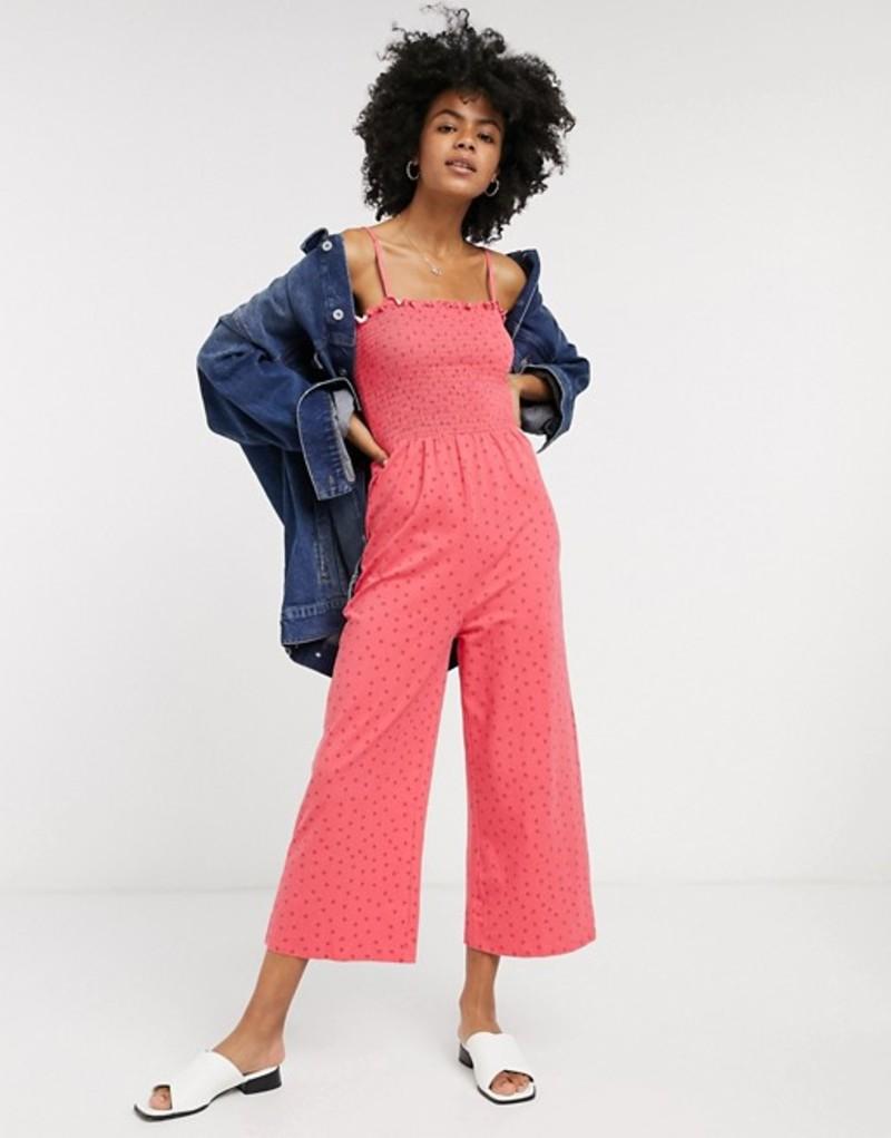 グラマラス レディース ワンピース トップス Glamorous wide leg jumpsuit with shirred bodice in ditsy strawberry Pink strawberry