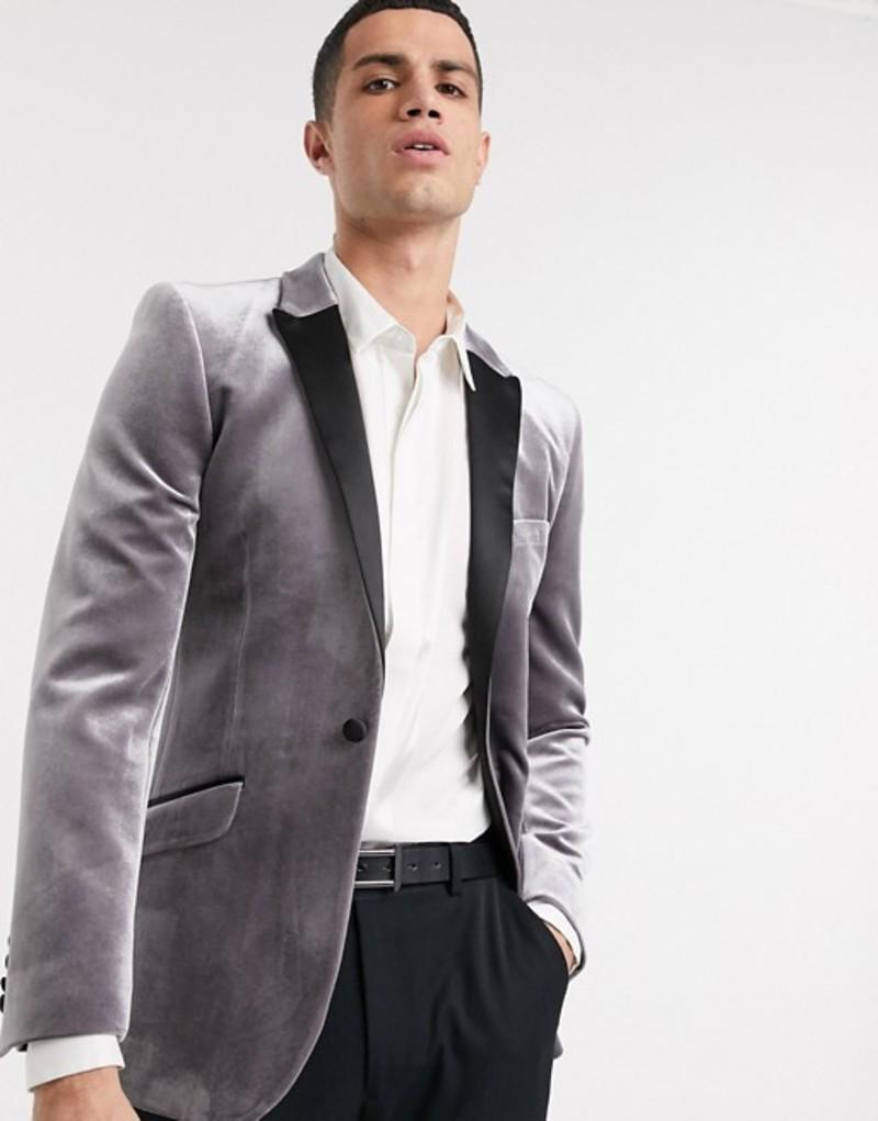 エイソス メンズ ジャケット・ブルゾン アウター ASOS DESIGN super skinny velvet tuxedo blazer in gray Gray