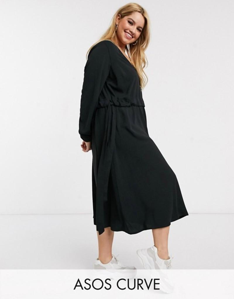 エイソス レディース ワンピース トップス ASOS DESIGN Curve v neck ruched waist chuck on midi dress with long sleeves in black Black