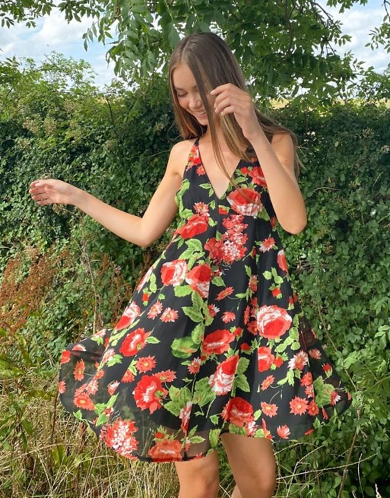 エイソス レディース ワンピース トップス ASOS DESIGN sleeveless trapeze mini dress with godets in floral Black based floral