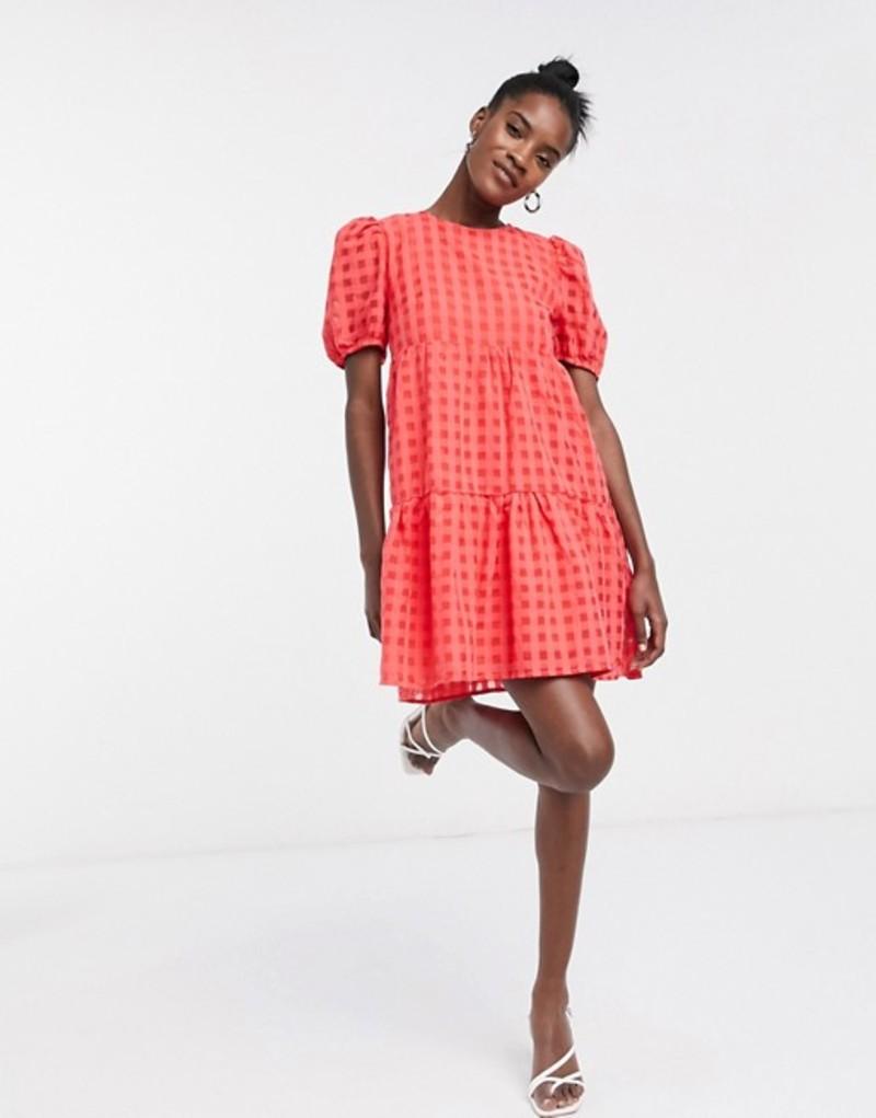 グラマラス レディース ワンピース トップス Glamorous tiered smock dress in check Red check