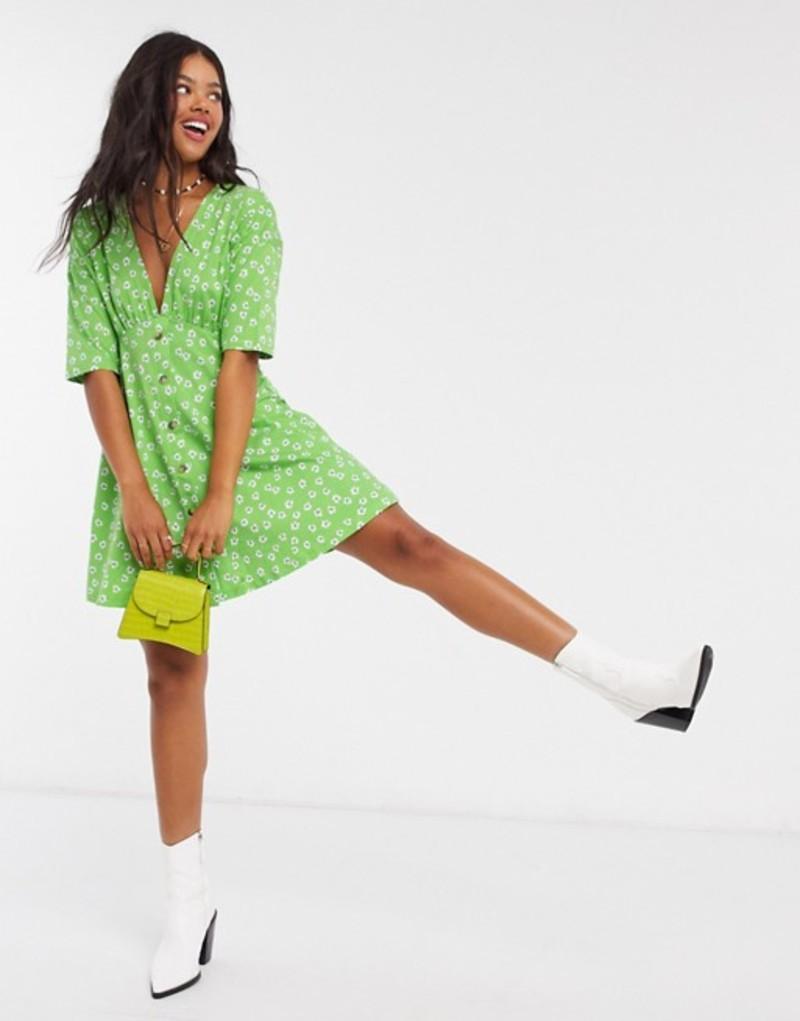 エイソス レディース ワンピース トップス ASOS DESIGN tea dress with horn buttons in green base floral Green floral