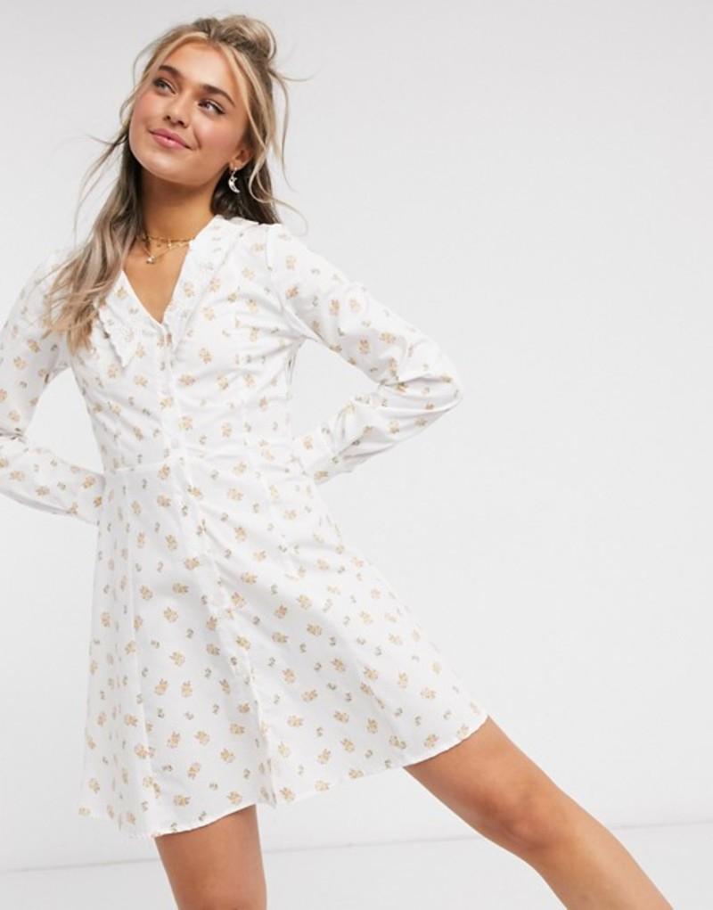 モンキ レディース ワンピース トップス Monki Noomi cotton floral print collar detail mini dress in white White