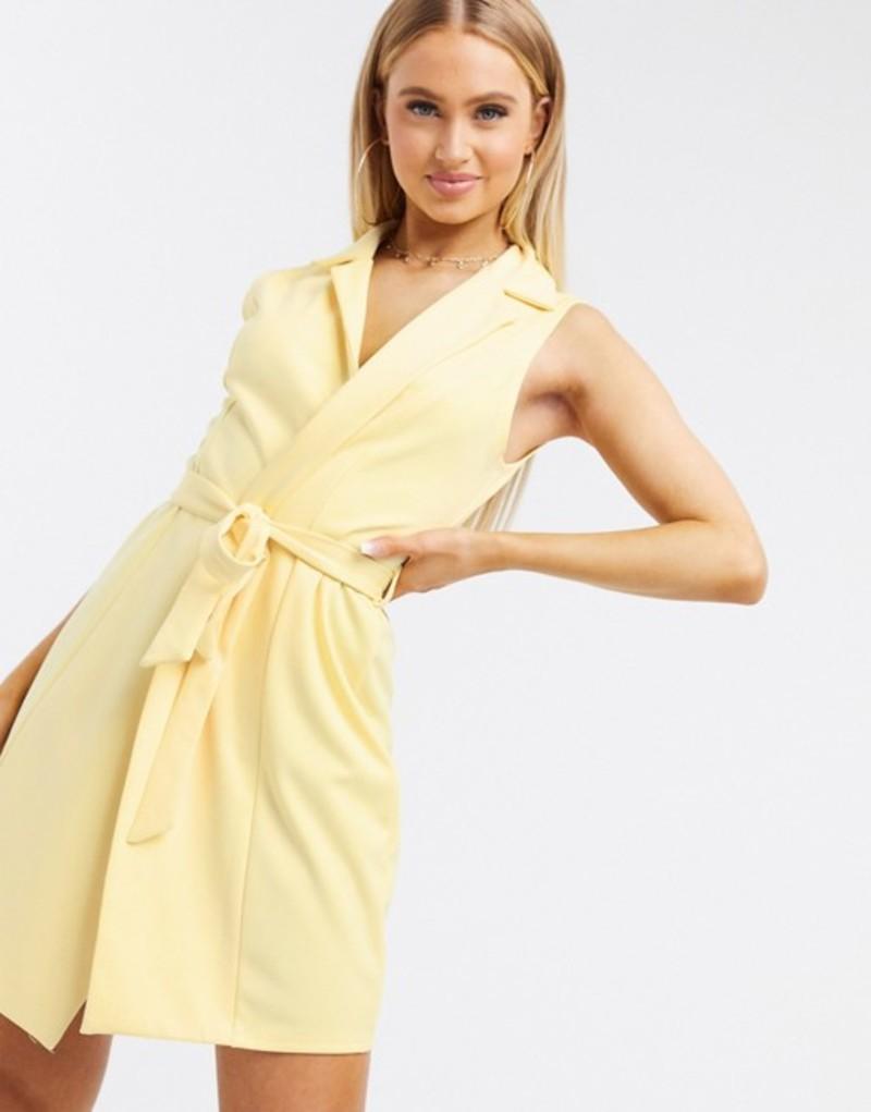 フラウンスロンドン レディース ワンピース トップス Flounce London Club sleeveless tie waist blazer dress in yellow Light yellow