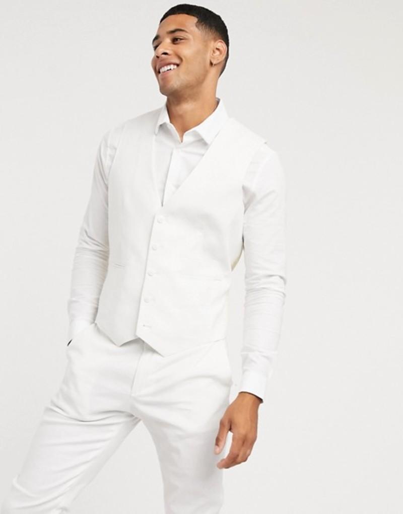 エイソス メンズ ベスト トップス ASOS DESIGN wedding skinny suit suit vest in stretch cotton linen in white White