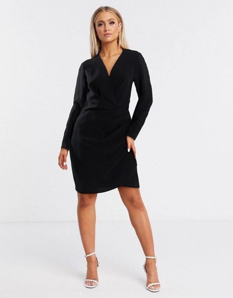 エイソス レディース ワンピース トップス ASOS DESIGN long sleeve pleat front wrap mini dress in black Black