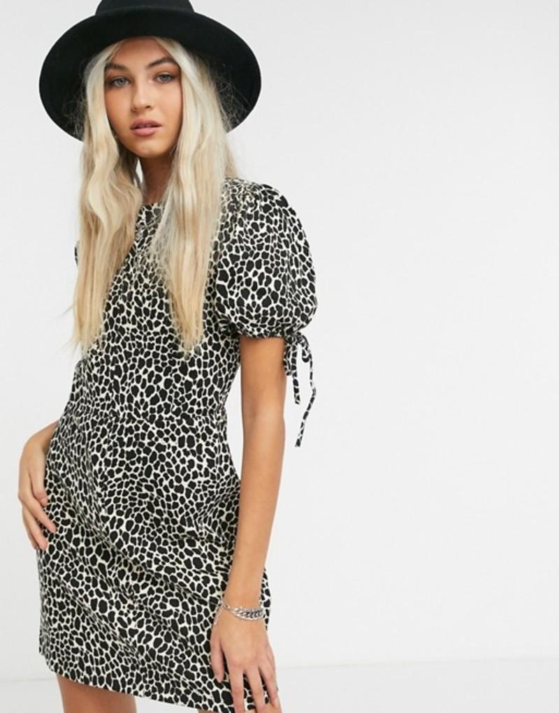 トップショップ レディース ワンピース トップス Topshop mini tea dress in animal print Multi