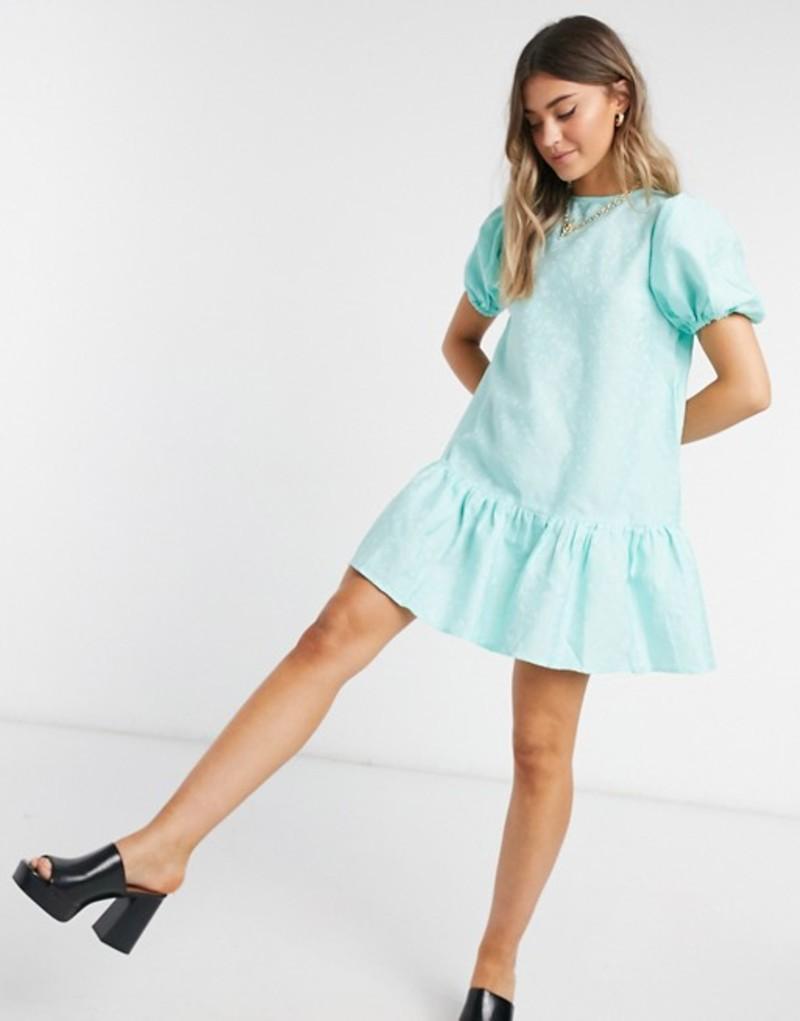 インフルエンス レディース ワンピース トップス Influence jacquard frill hem smock dress in mint Mint