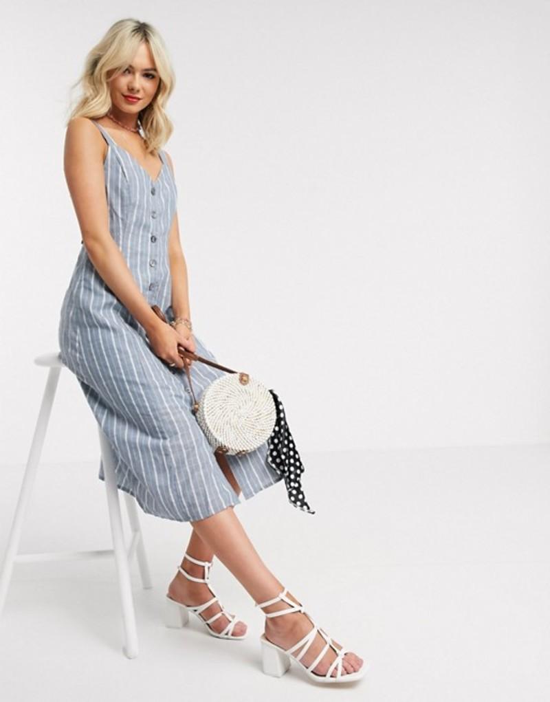 ジリ レディース ワンピース トップス Gilli button down midi dress in blue and white stripe White