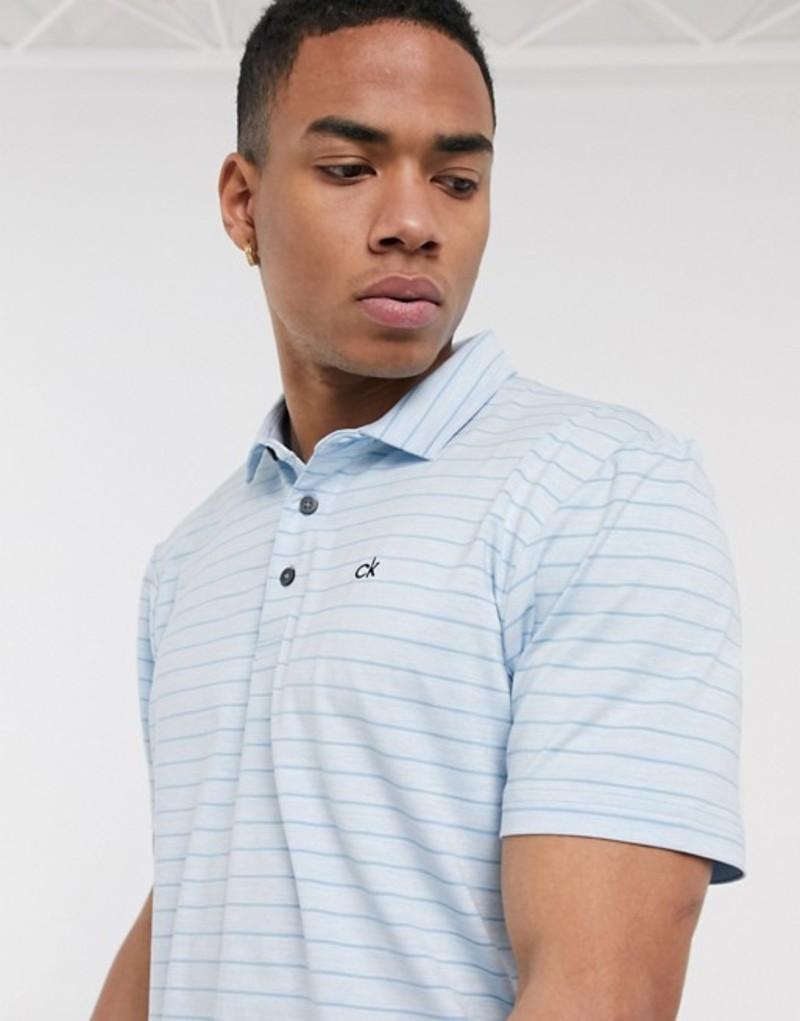 カルバンクラインゴルフ メンズ シャツ トップス Calvin Klein Golf Splice polo shirt in blue stripe Blue