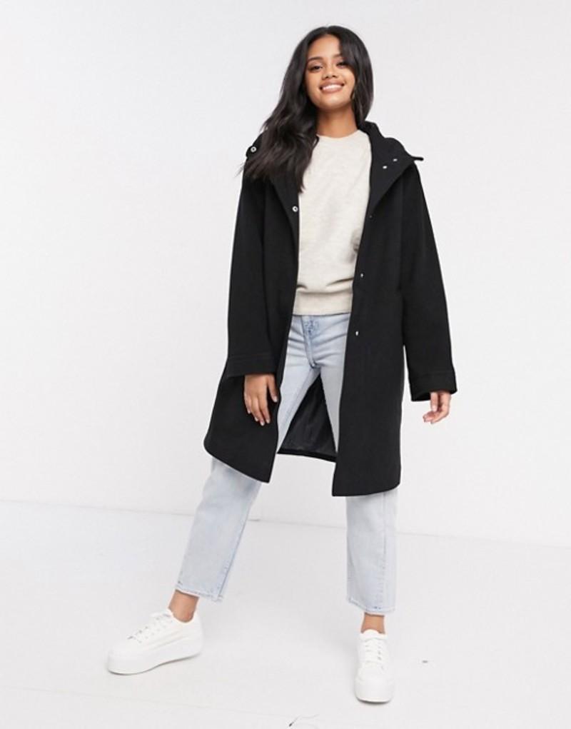 エイソス レディース コート アウター ASOS DESIGN textured hood coat in black Black