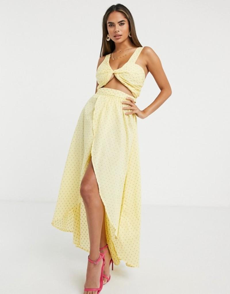 エイソス レディース ワンピース トップス ASOS DESIGN fuller bust twist front beach maxi beach dress in yellow dobby Yellow dobby