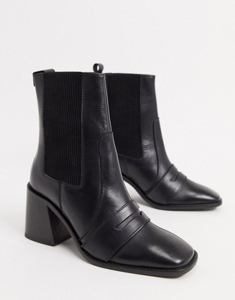 エイソス レディース ブーツ・レインブーツ シューズ ASOS DESIGN Rocket leather loafer boots in black Black